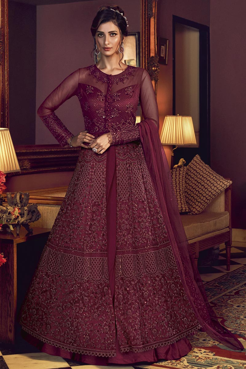 Embroidered Net Fabric Maroon Color Function Wear Anarkali Suit
