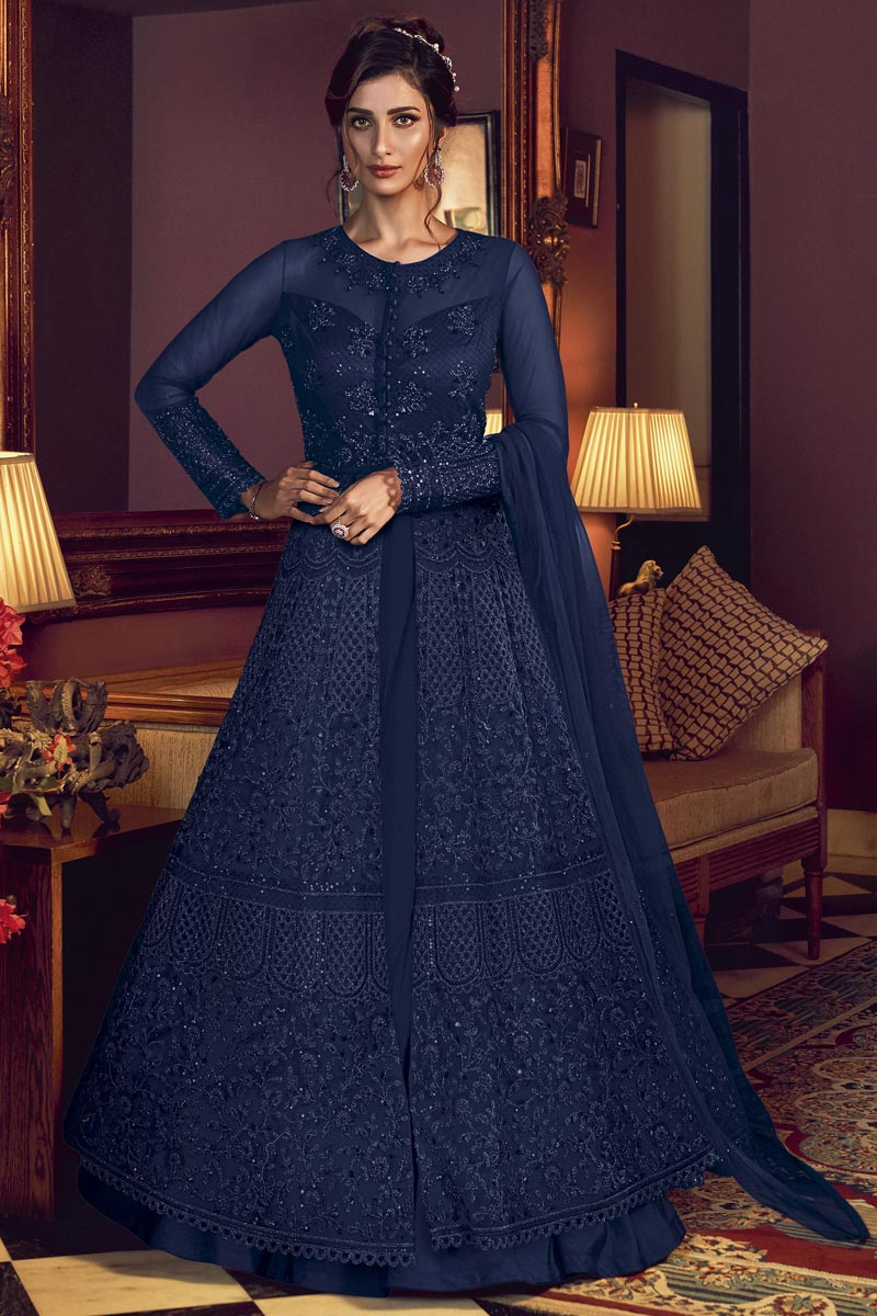 Navy Blue Color Net Fabric Occasion Wear Anarkali Suit With Embroidery Work