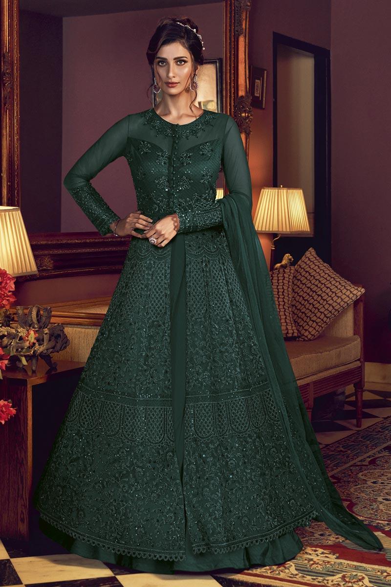 Fancy Embroidery Work Function Wear Anarkali Suit In Net Fabric