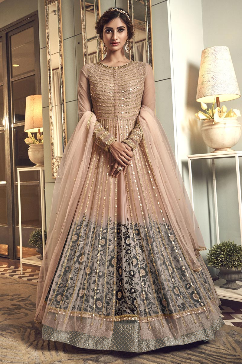 Reception Wear Net Fabric Embroidered Floor Length Anarkali Dress In Peach Color