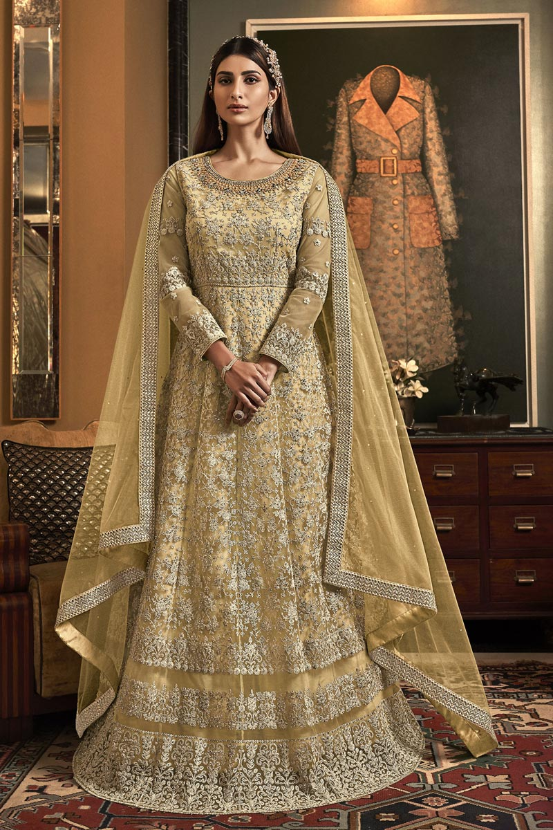 Yellow Color Reception Wear Embroidered Floor Length Anarkali Dress In Net Fabric
