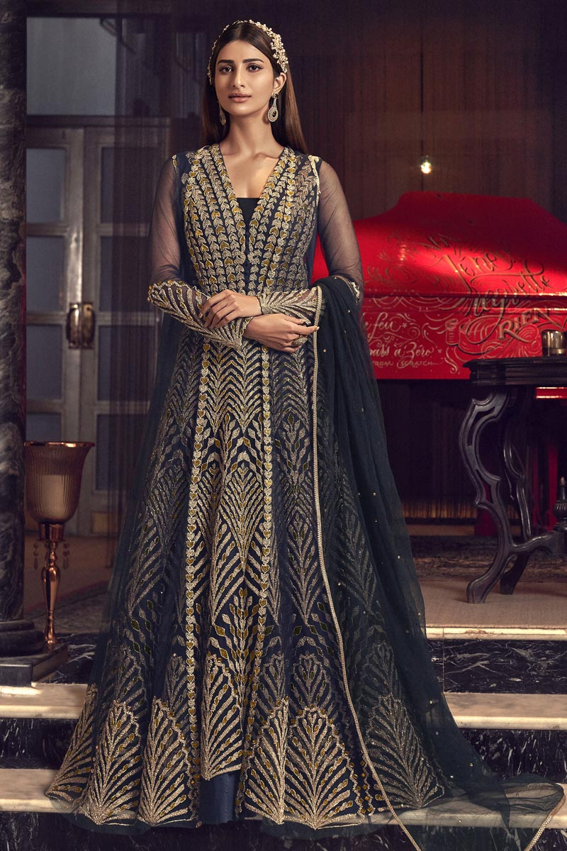 Reception Wear Navy Blue Color Net Fabric Embroidered Long Length Anarkali Suit