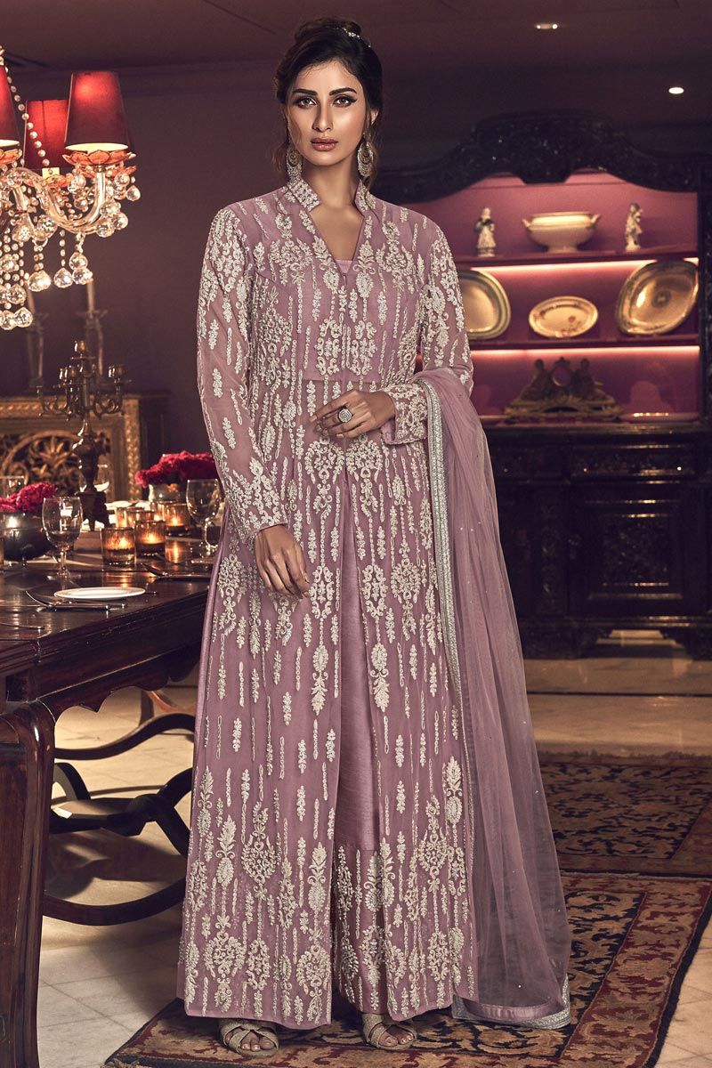 Reception Wear Embroidered Pink Color Palazzo Dress In Net Fabric