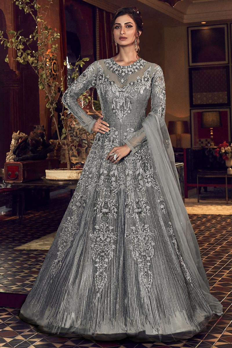 Net Fabric Reception Wear Grey Color Long Length Embroidered Anarkali Suit