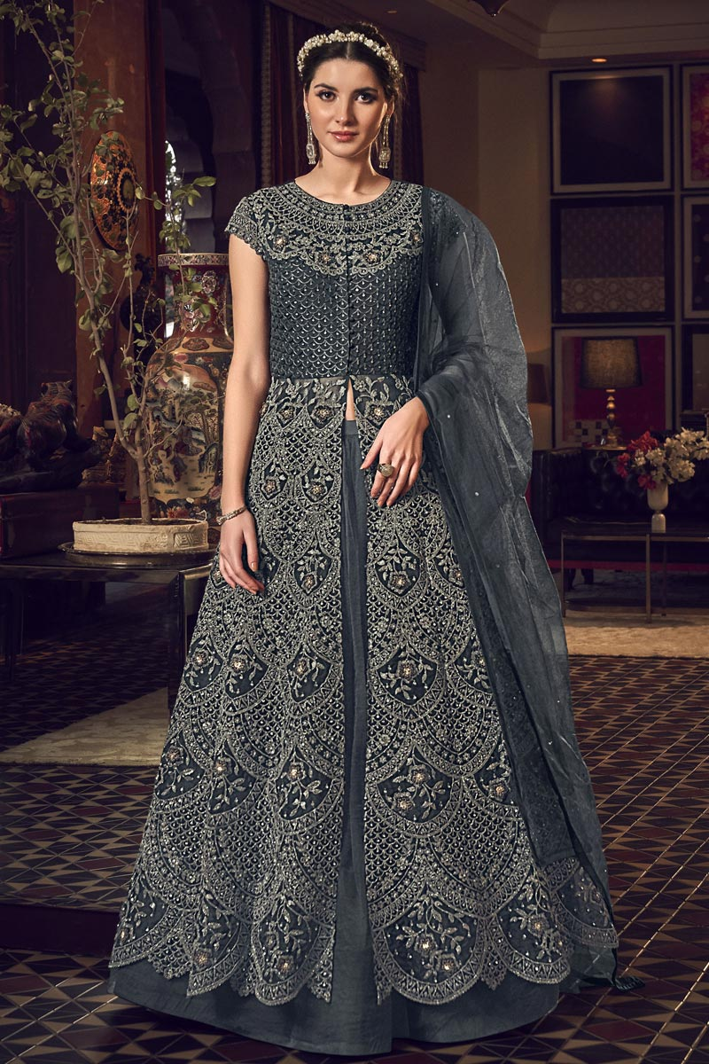 Grey Color Reception Wear Net Fabric Embroidered Long Length Anarkali Suit