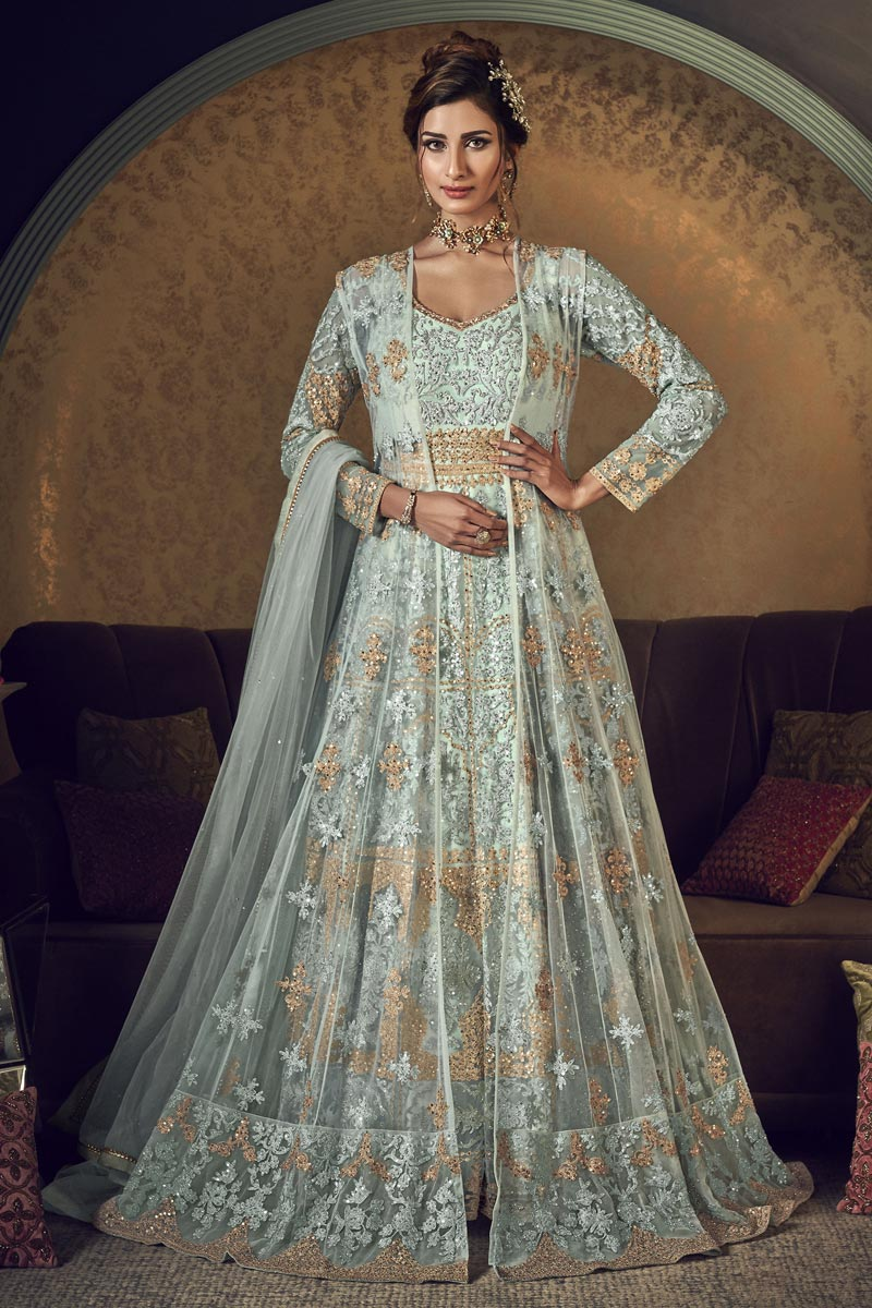 Net Fabric Reception Wear Embroidered Floor Length Anarkali Dress In Light Cyan Color
