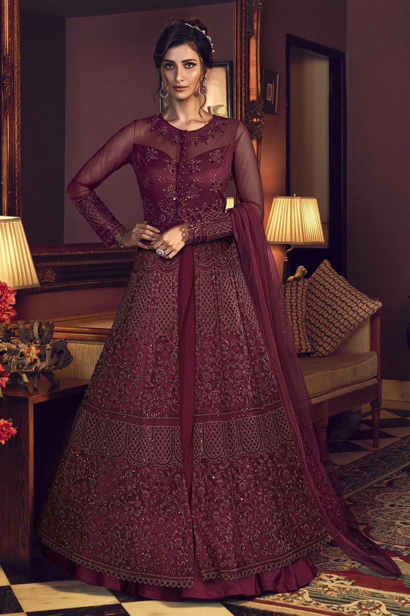 Reception Wear Net Fabric Maroon Color Embroidered Long Length Anarkali Suit