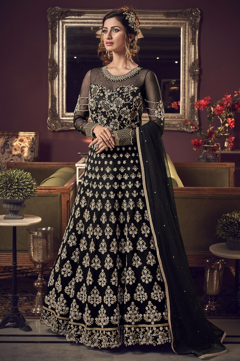 Black Color Reception Wear Net Fabric Long Length Embroidered Anarkali Suit