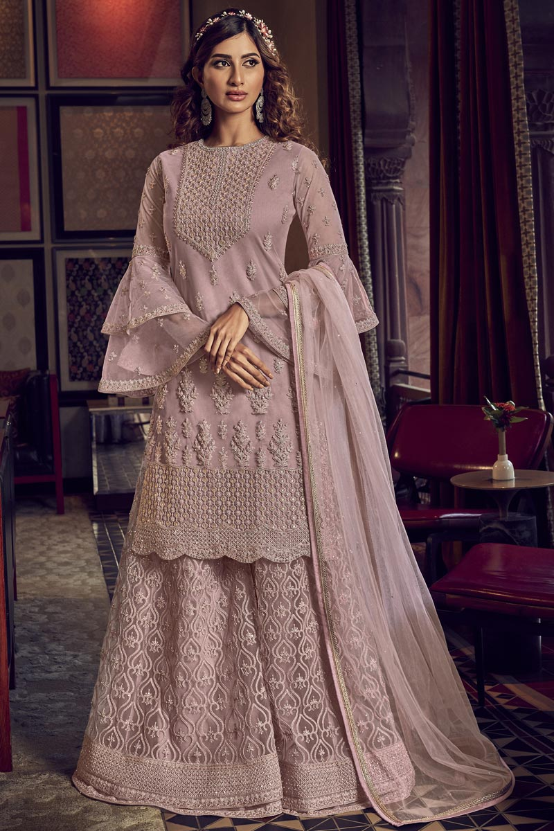 Pink Color Wedding Wear Designer Embroidered Palazzo Suit In Net Fabric