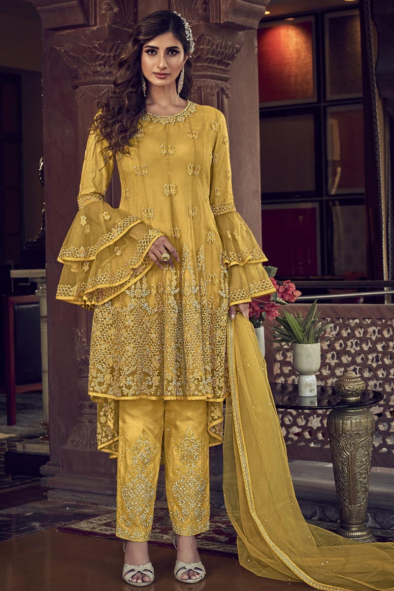 Designer Net Fabric Wedding Wear Embroidered Suit In Yellow Color