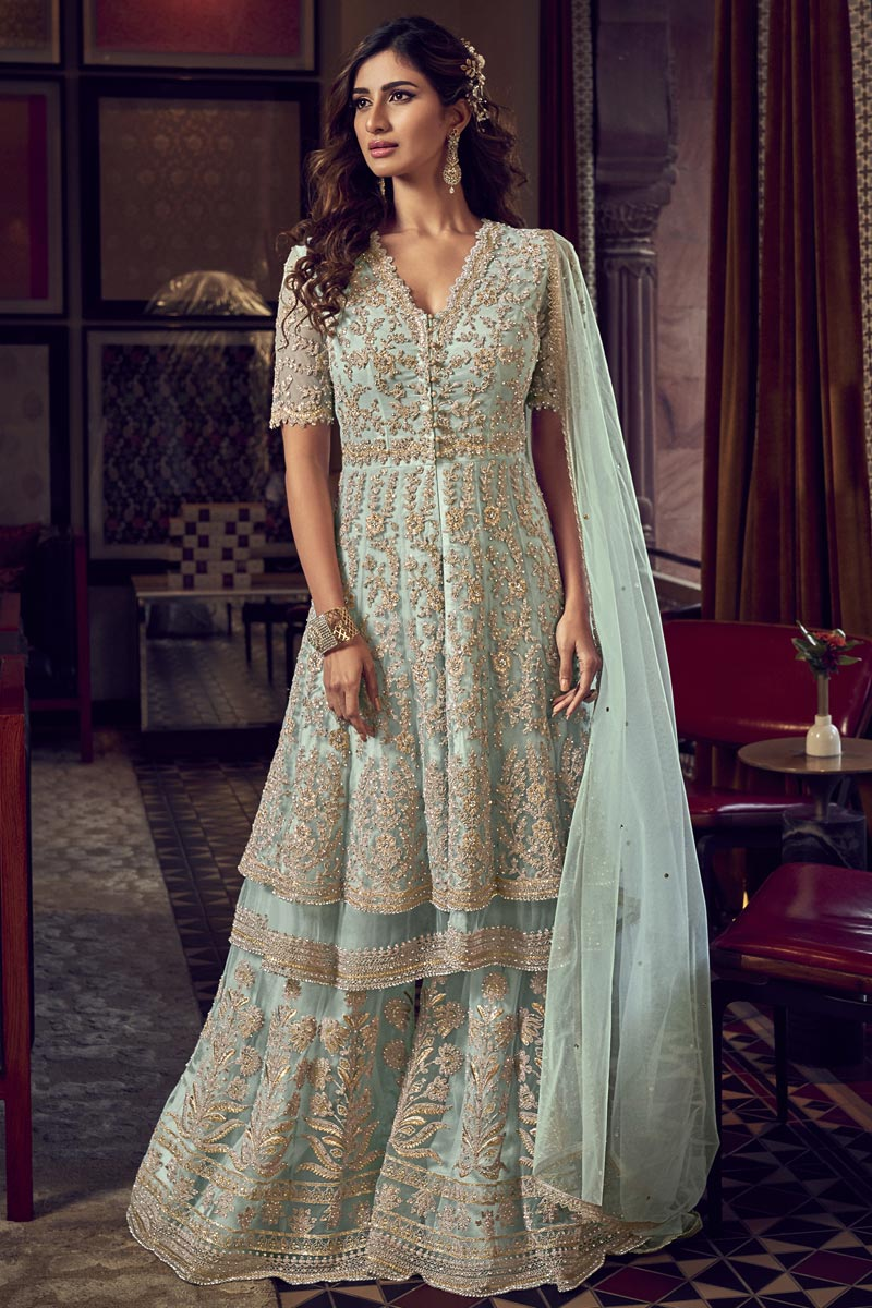 Wedding Wear Designer Light Cyan Color Embroidered Net Fabric Palazzo Dress