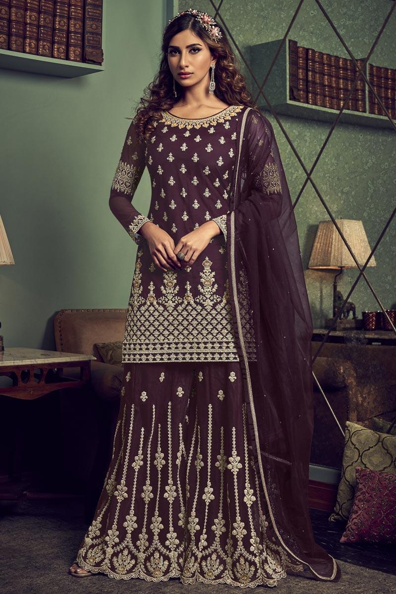 Designer Net Fabric Wedding Wear Embroidered Wine Color Palazzo Dress