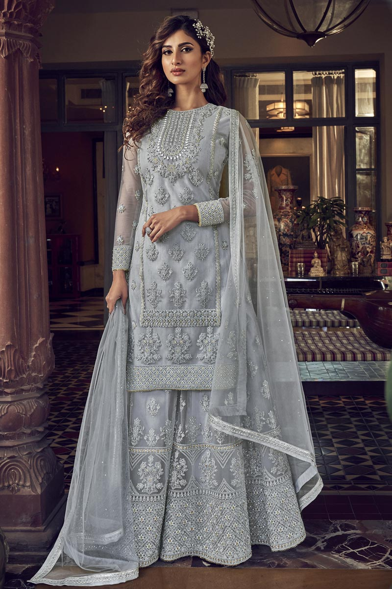 Net Fabric Wedding Wear Designer Embroidered Palazzo Suit In Grey Color