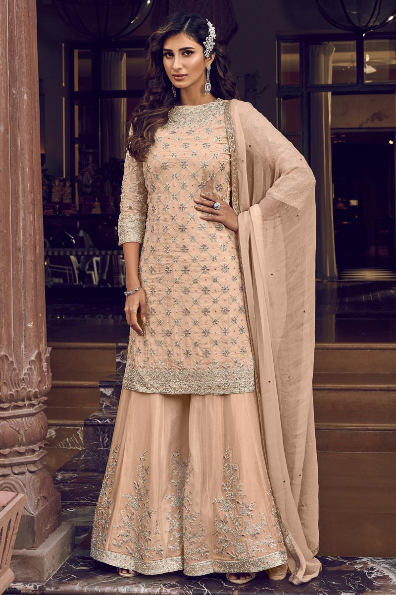 Wedding Wear Georgette Fabric Designer Peach Color Embroidered Palazzo Dress