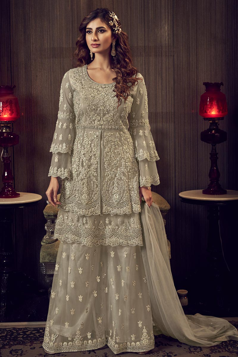 Designer Cream Color Wedding Wear Embroidered Palazzo Suit In Net Fabric