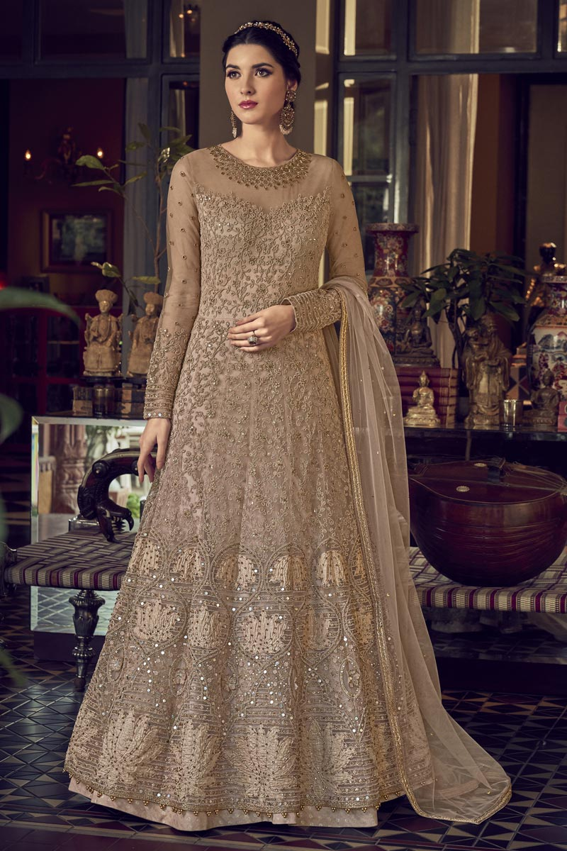 Chikoo Color Function Wear Embroidered Gown Style Anarkali Dress In Net Fabric