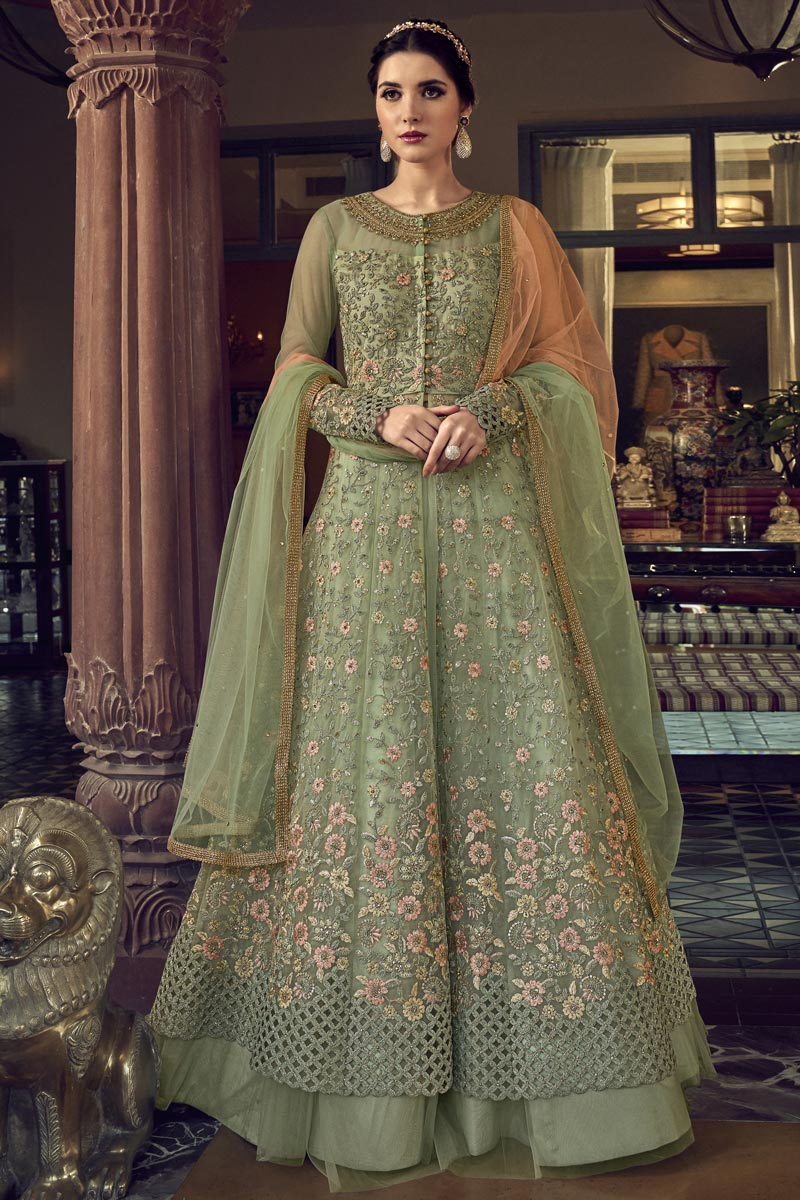 Function Wear Sea Green Color Net Fabric Embroidered Gown Style Anarkali Suit