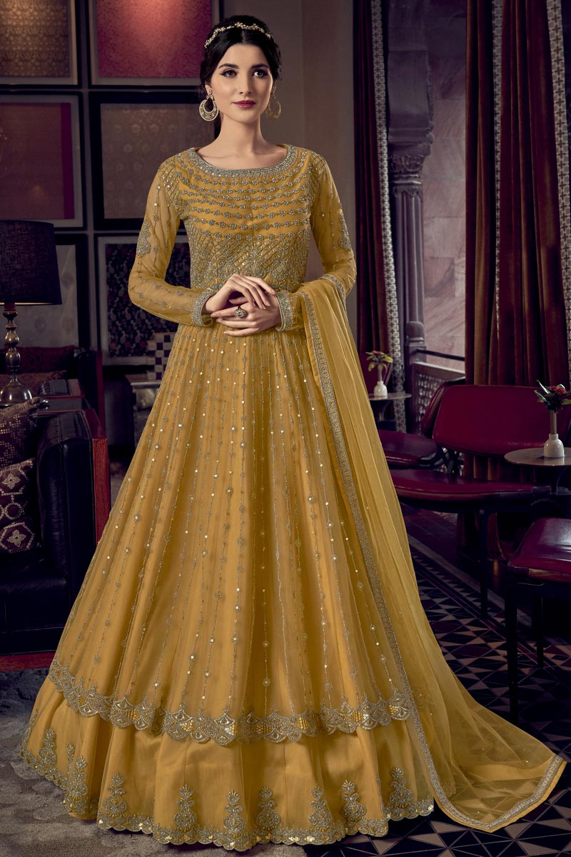 Function Wear Yellow Color Embroidered Gown Style Anarkali Dress In Net Fabric