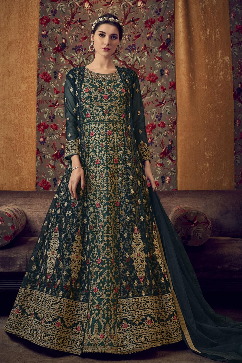 Function Wear Net Fabric Embroidered Gown Style Anarkali Suit In Teal Color