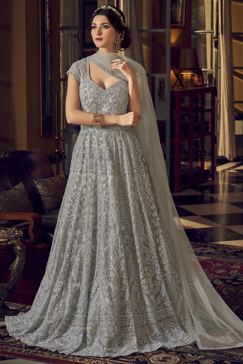 Function Wear Embroidered Net Fabric Gown Style Anarkali Dress In Grey Color