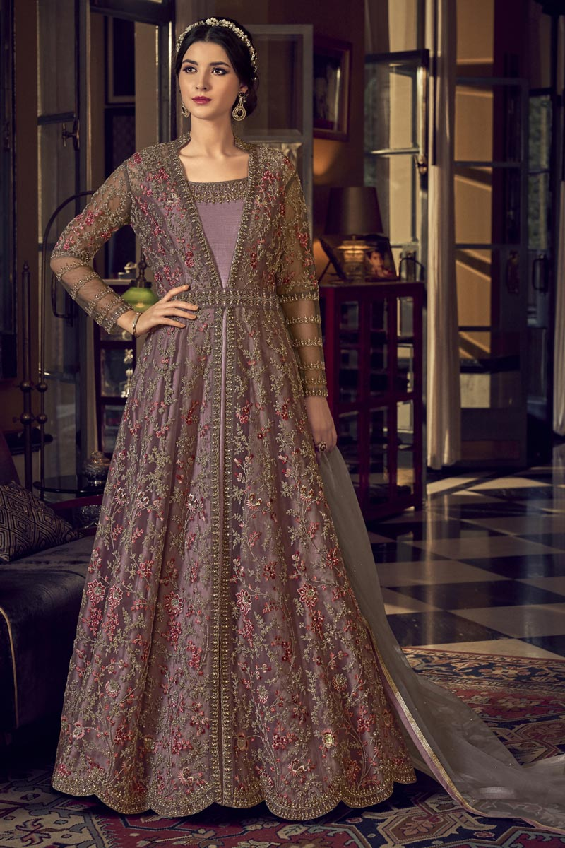Pink Color Function Wear Net Fabric Embroidered Gown Style Anarkali Suit