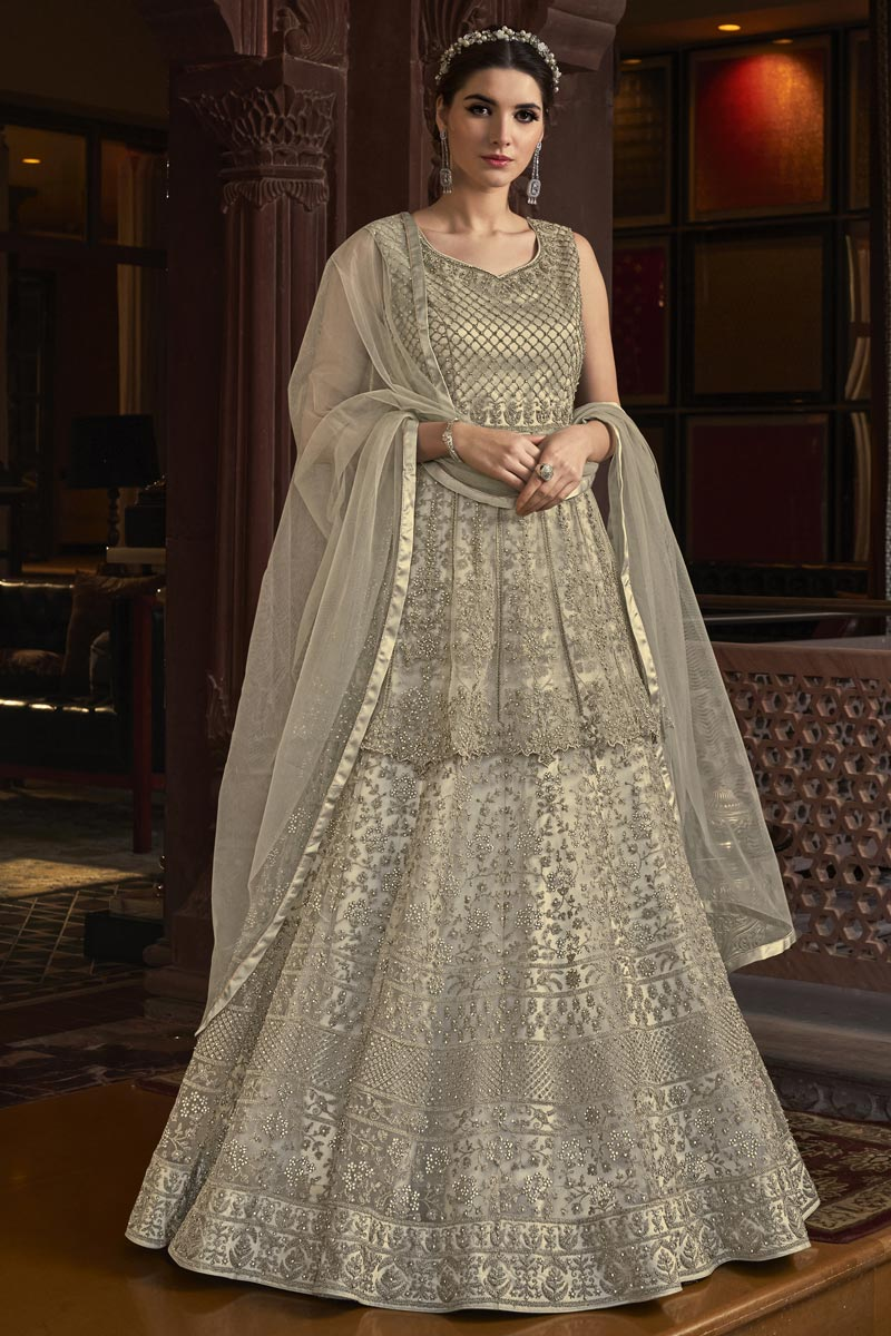 Net Fabric Function Wear Embroidered Gown Style Anarkali Dress In Off White Color