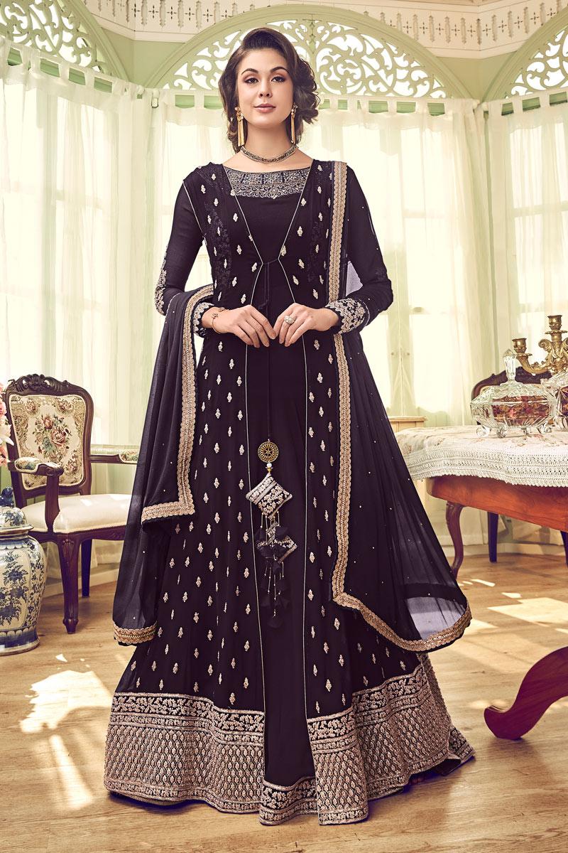 Function Wear Designer Wine Color Georgette Embroidered Floor Length Anarkali Suit