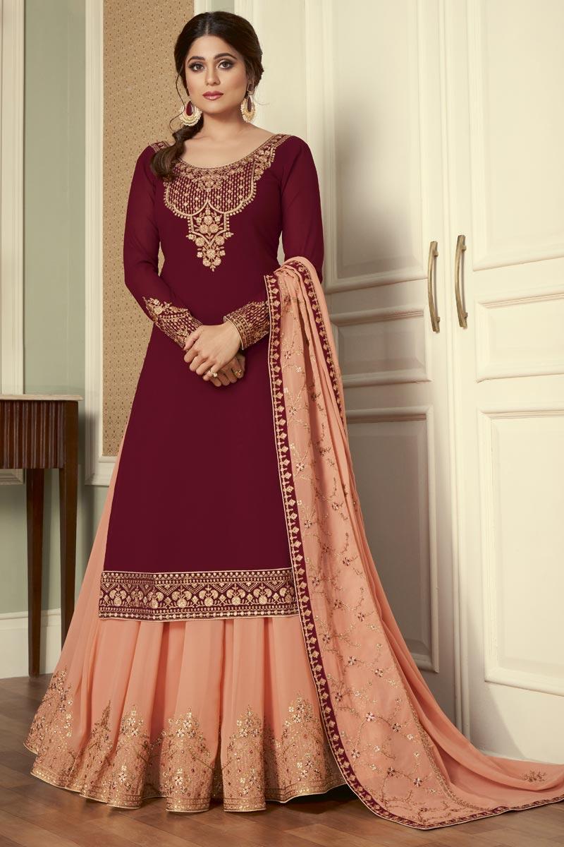 Shamita Shetty Maroon Color Georgette Fabric Fancy Sangeet Wear Sharara Top Lehenga