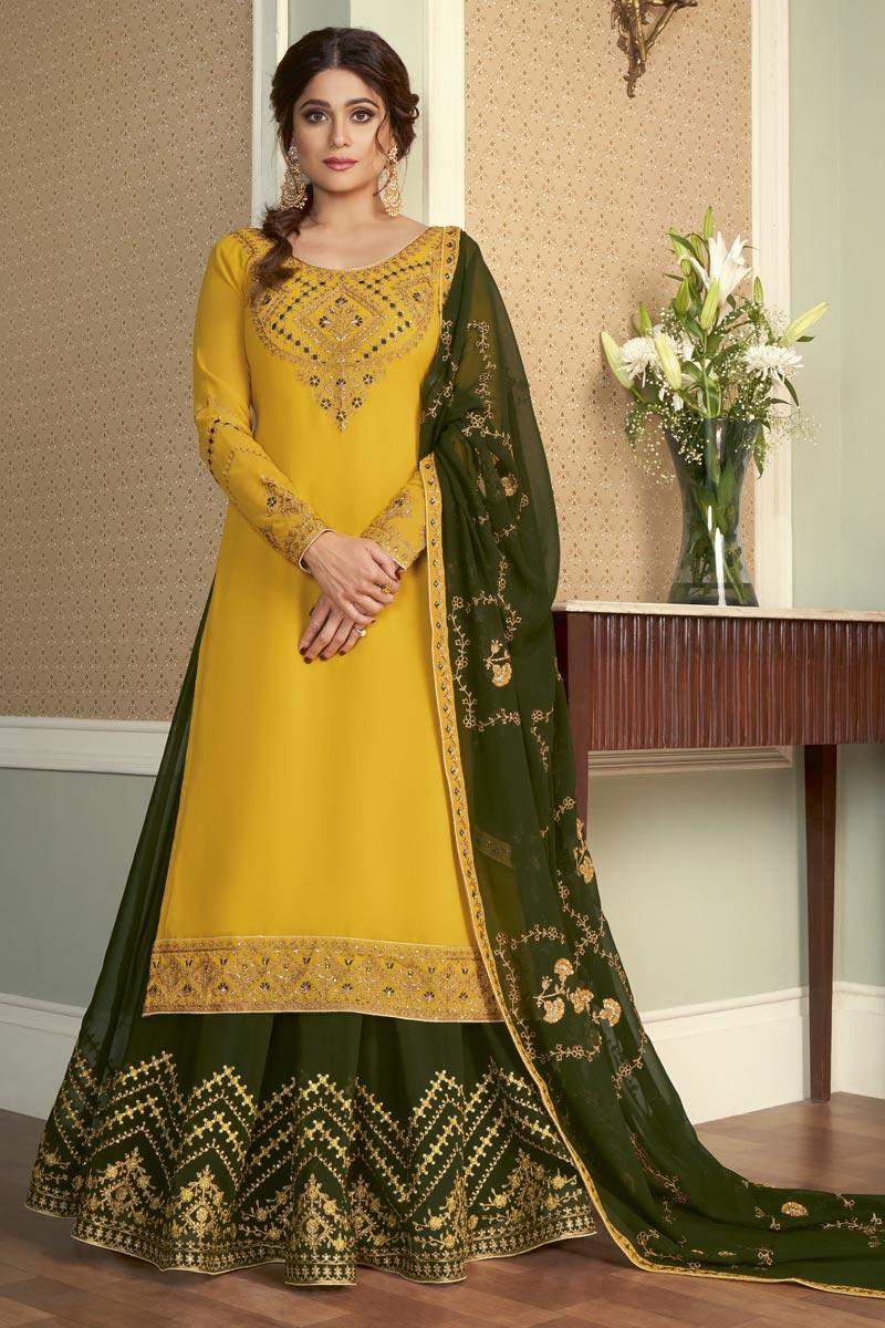 Shamita Shetty Georgette Fabric Yellow Color Stylish Wedding Wear Sharara Top Lehenga