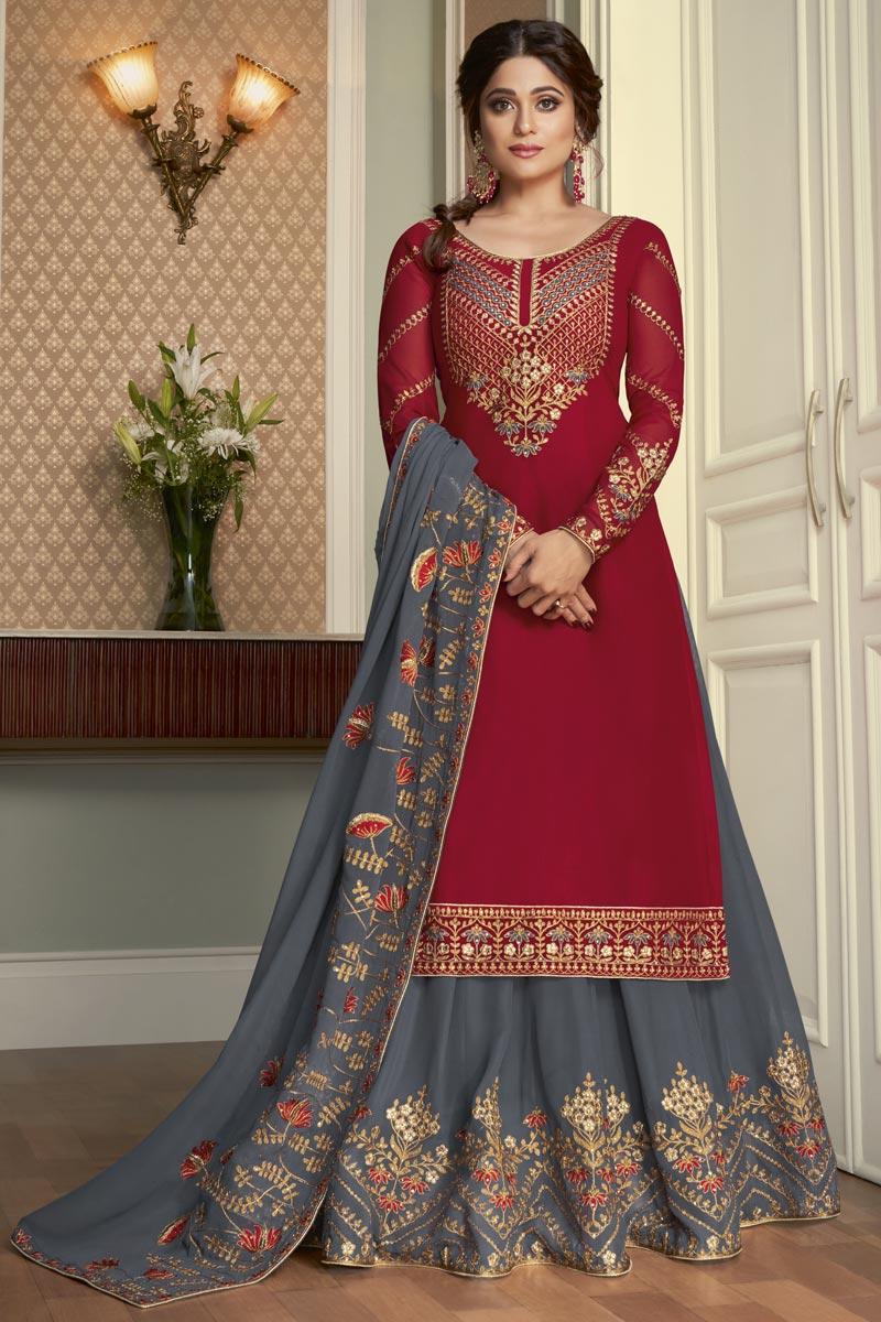 Shamita Shetty Trendy Red Color Georgette Fabric Reception Wear Sharara Top Lehenga