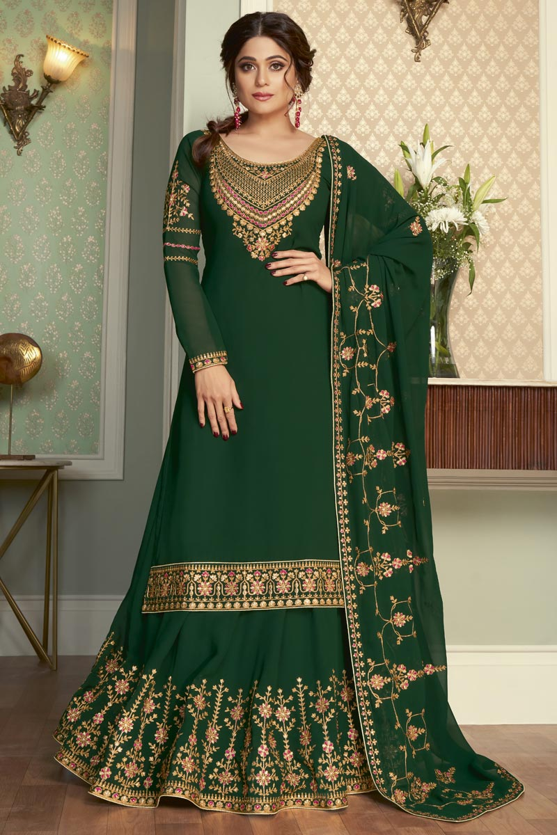 Shamita Shetty Sangeet Wear Dark Green Color Georgette Fabric Designer Sharara Top Lehenga