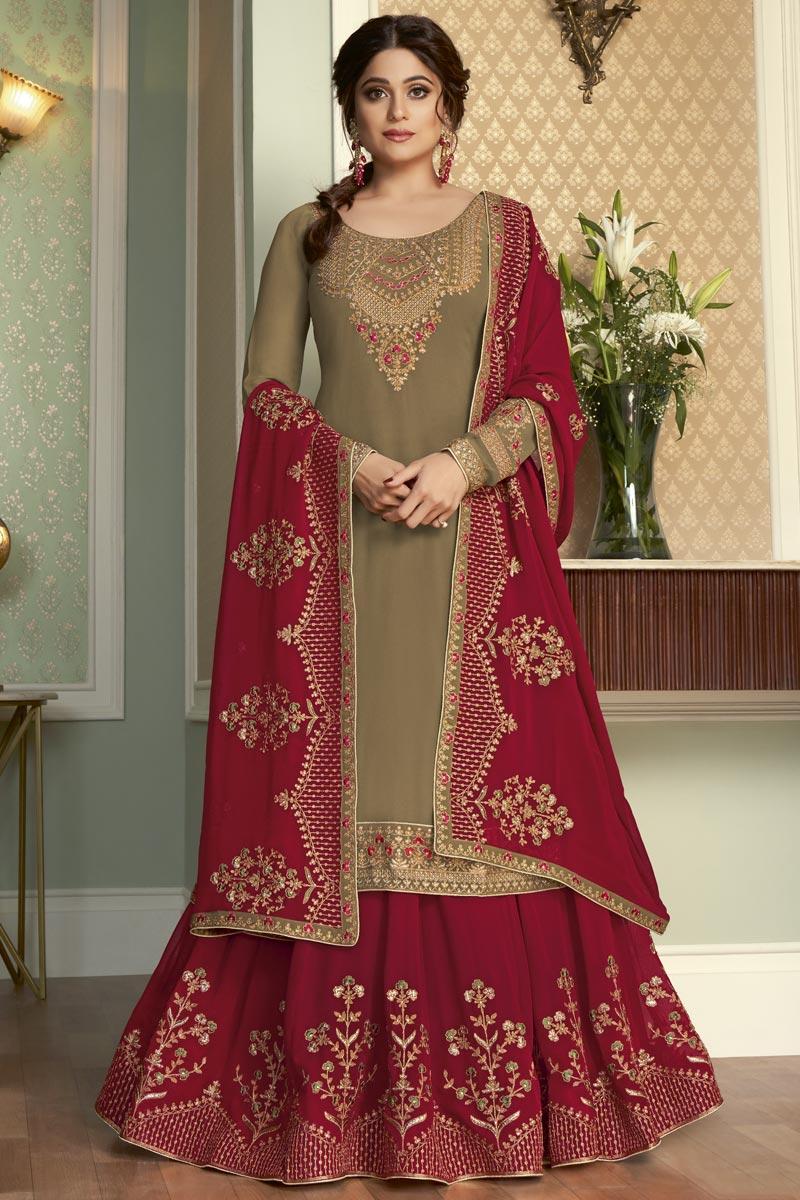 Shamita Shetty Georgette Fabric Fancy Wedding Wear Sharara Top Lehenga In Dark Beige Color