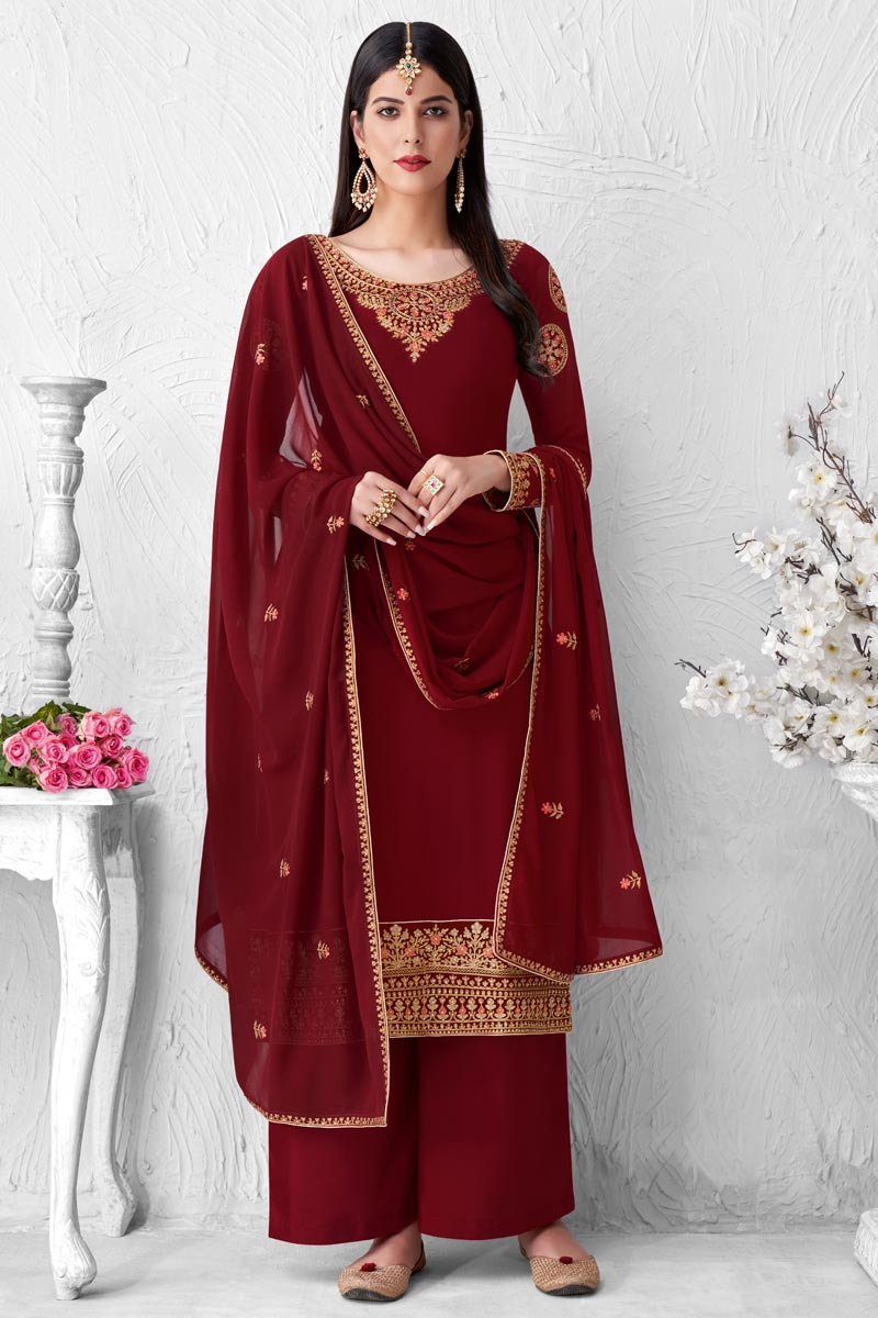 Maroon Color Party Style Fancy Embroidered Georgette Fabric Palazzo Suit