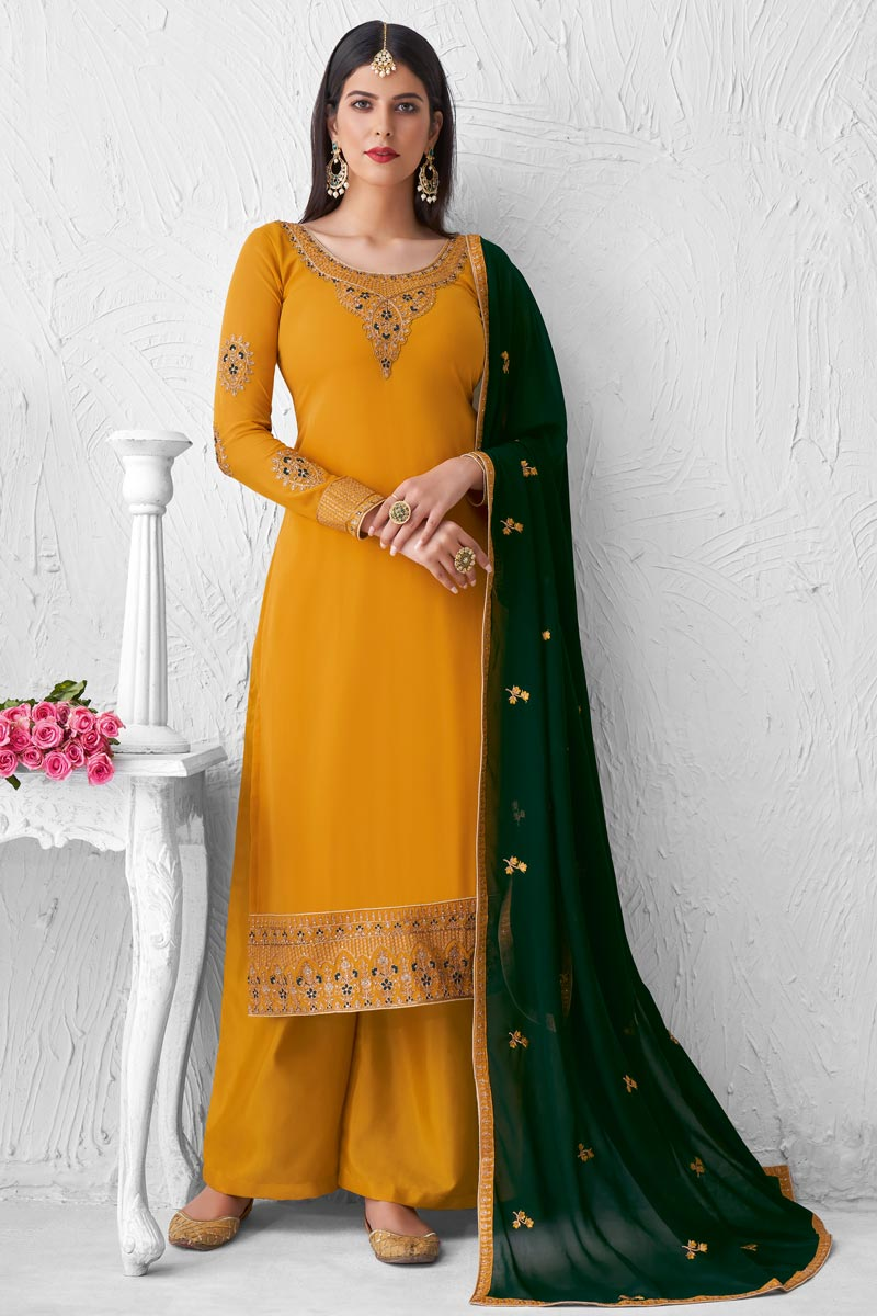 Mustard Color Party Style Fancy Embroidered Georgette Fabric Palazzo Dress