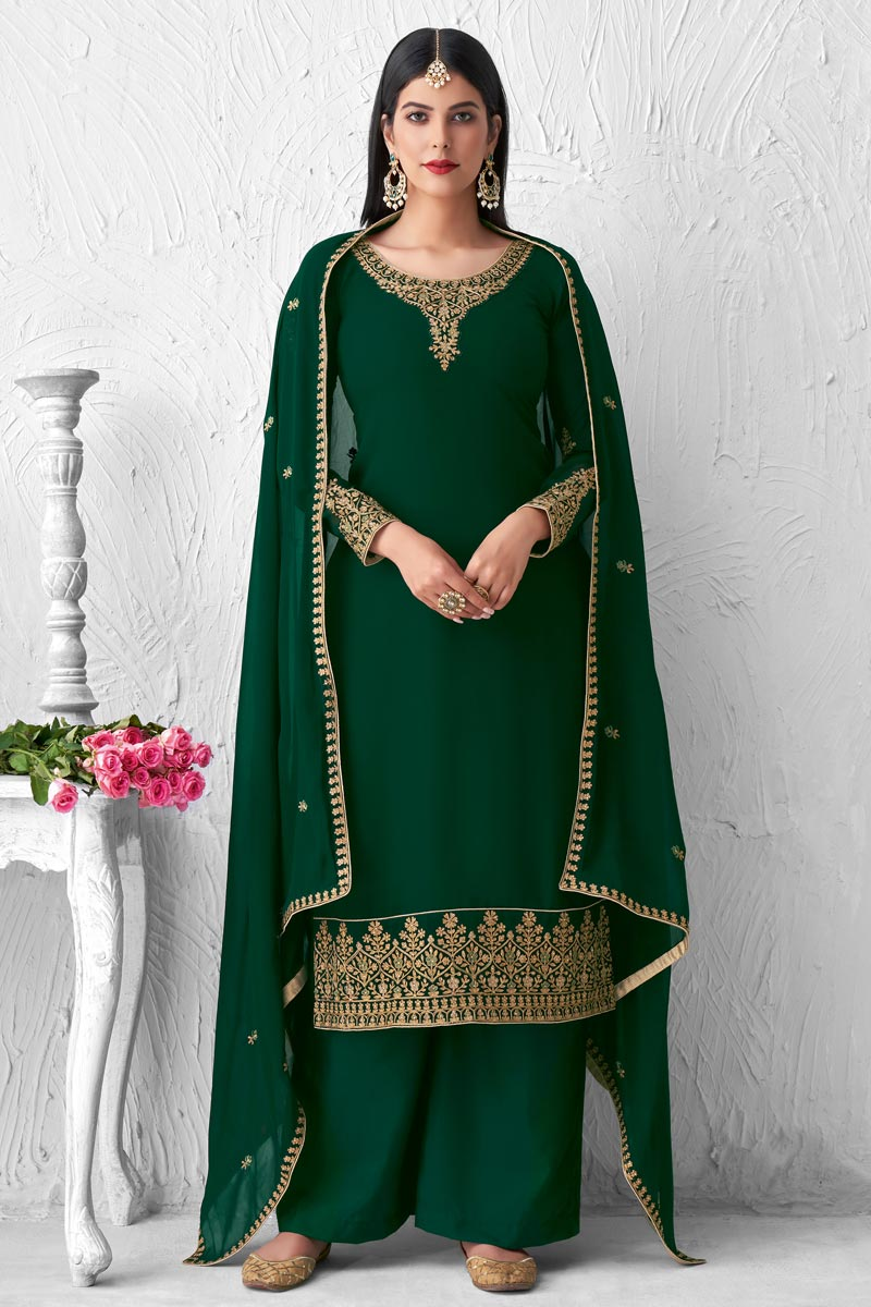 Georgette Fabric Party Style Dark Green Color Fancy Embroidered Palazzo Suit
