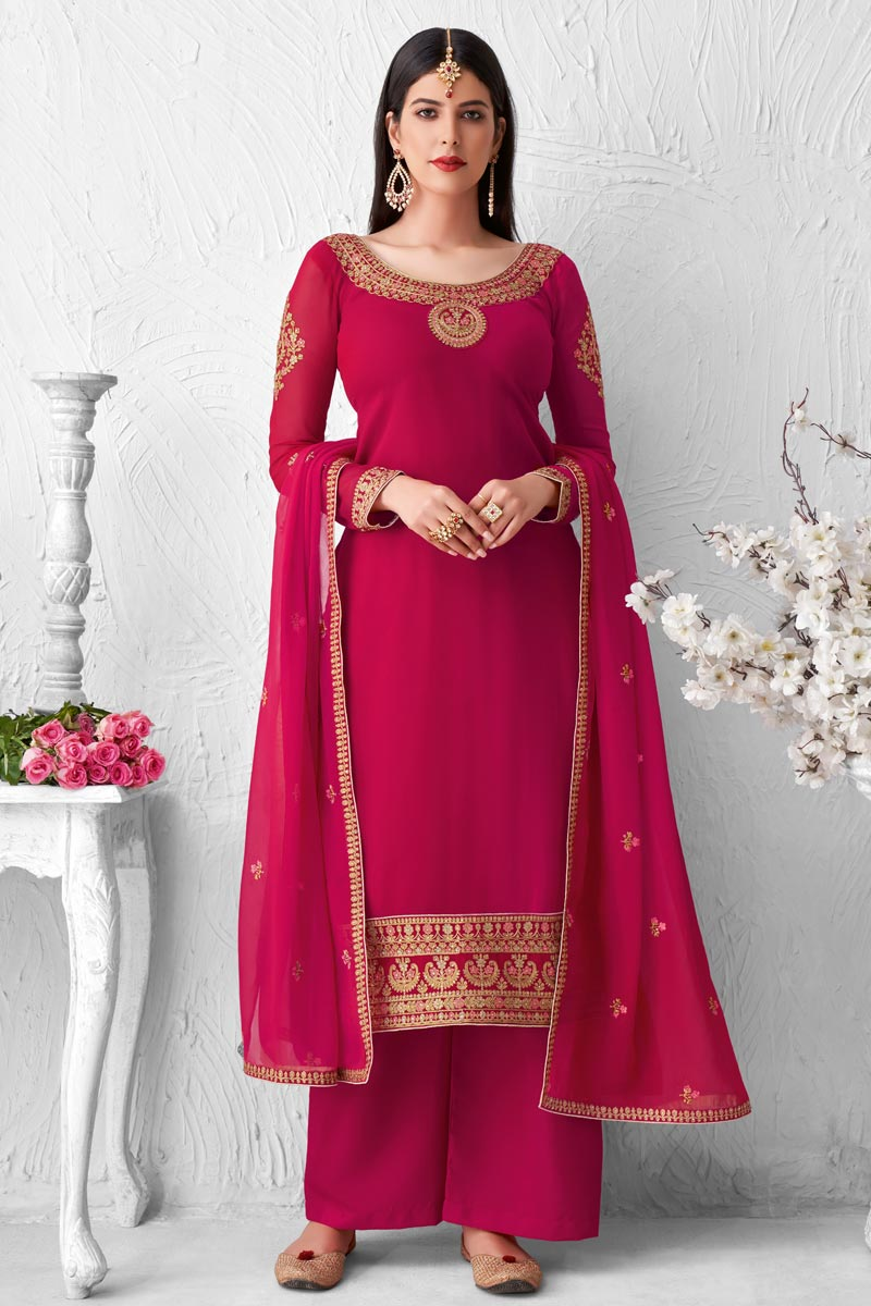 Rani Color Georgette Fabric Party Style Fancy Embroidered Palazzo Dress
