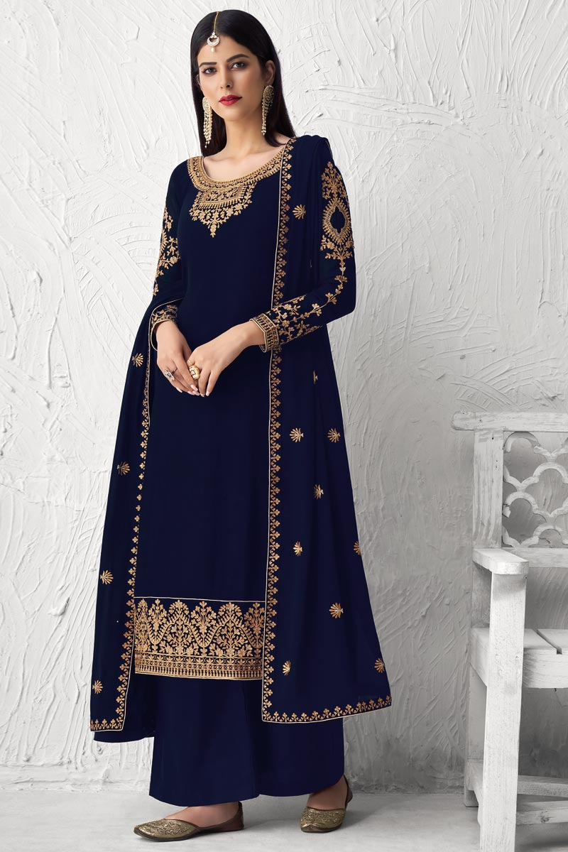Georgette Fabric Party Style Fancy Embroidered Palazzo Dress In Black Color