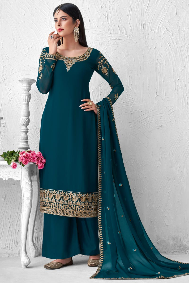 Party Style Georgette Fabric Teal Color Fancy Embroidered Palazzo Suit