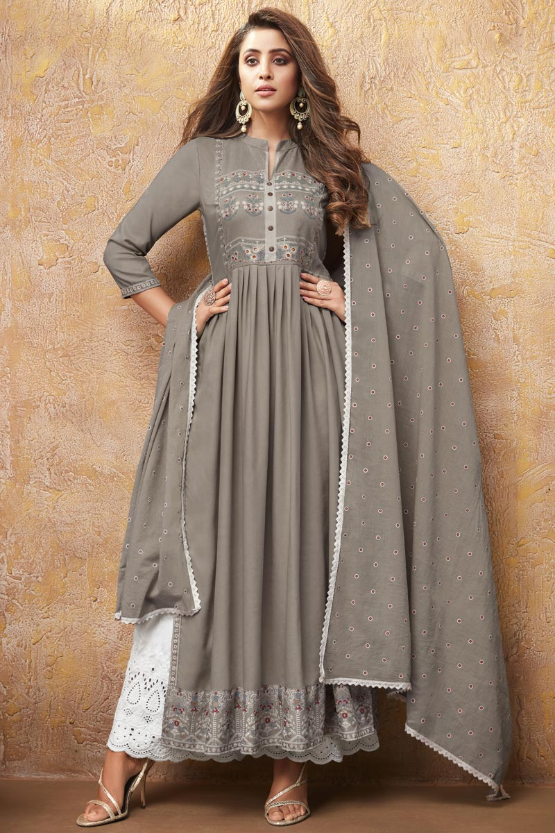 Rayon Fabric Party Wear Dark Beige Color Printed Kurti With Palazzo Bottom