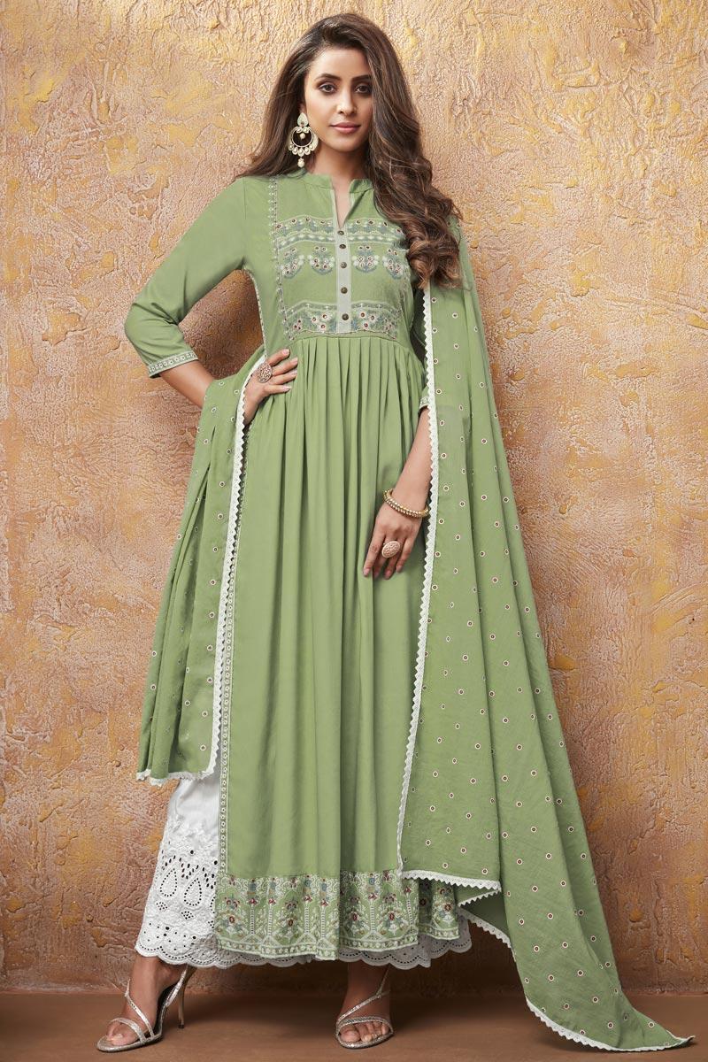 Green Color Function Wear Rayon Fabric Printed Kurti With Palazzo Bottom