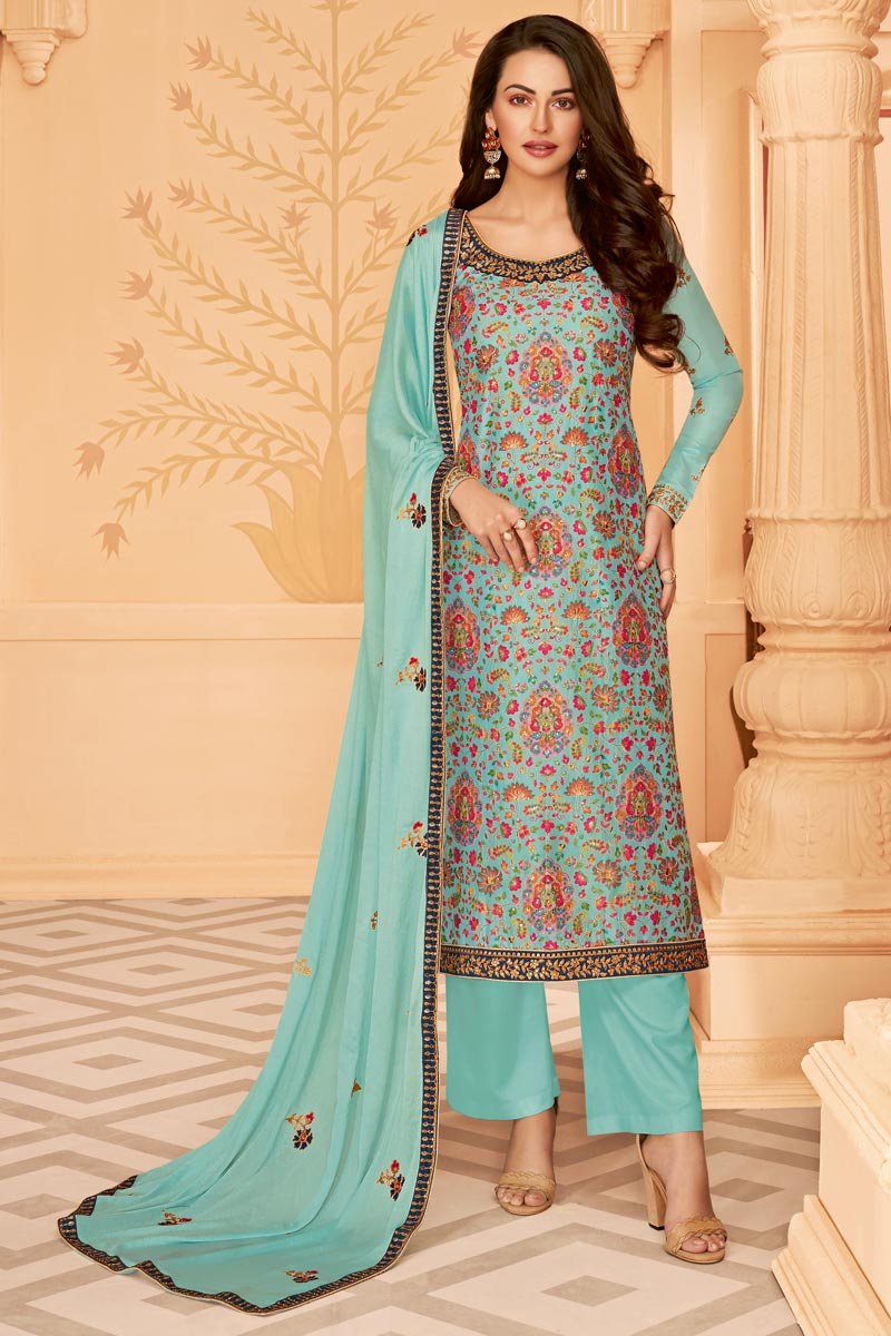 Art Silk Fabric Classy Party Wear Printed Embroidered Cyan Color Palazzo Dress