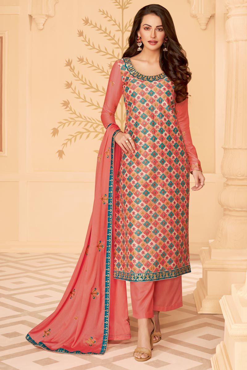 Classy Art Silk Fabric Party Wear Printed Embroidered Peach Color Palazzo Suit