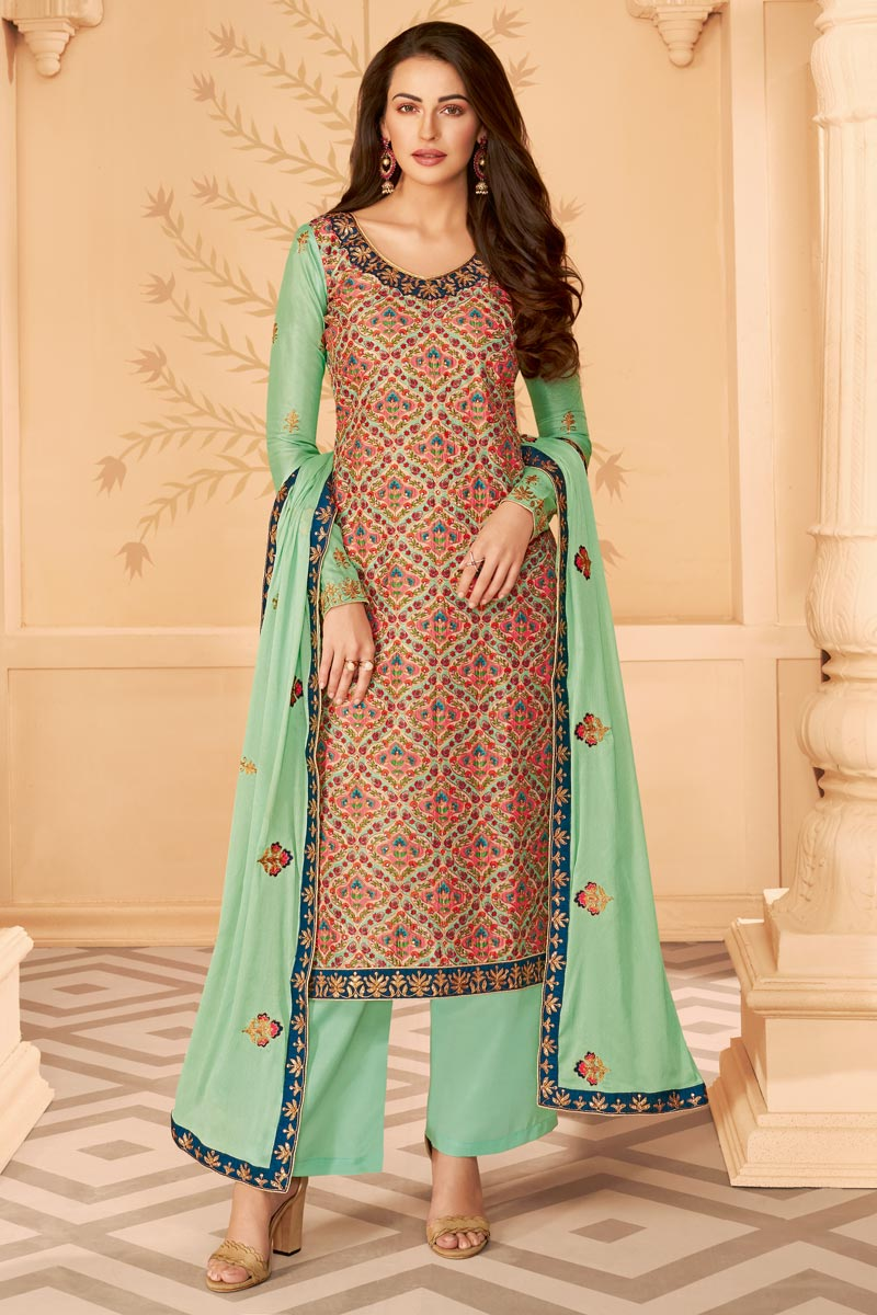 Classy Sea Green Color Party Wear Printed Embroidered Palazzo Suit In Art Silk Fabric