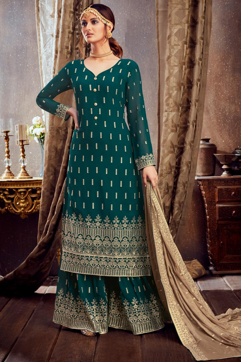 Teal Color Embroidered Palazzo Salwar Kameez In Georgette Fabric