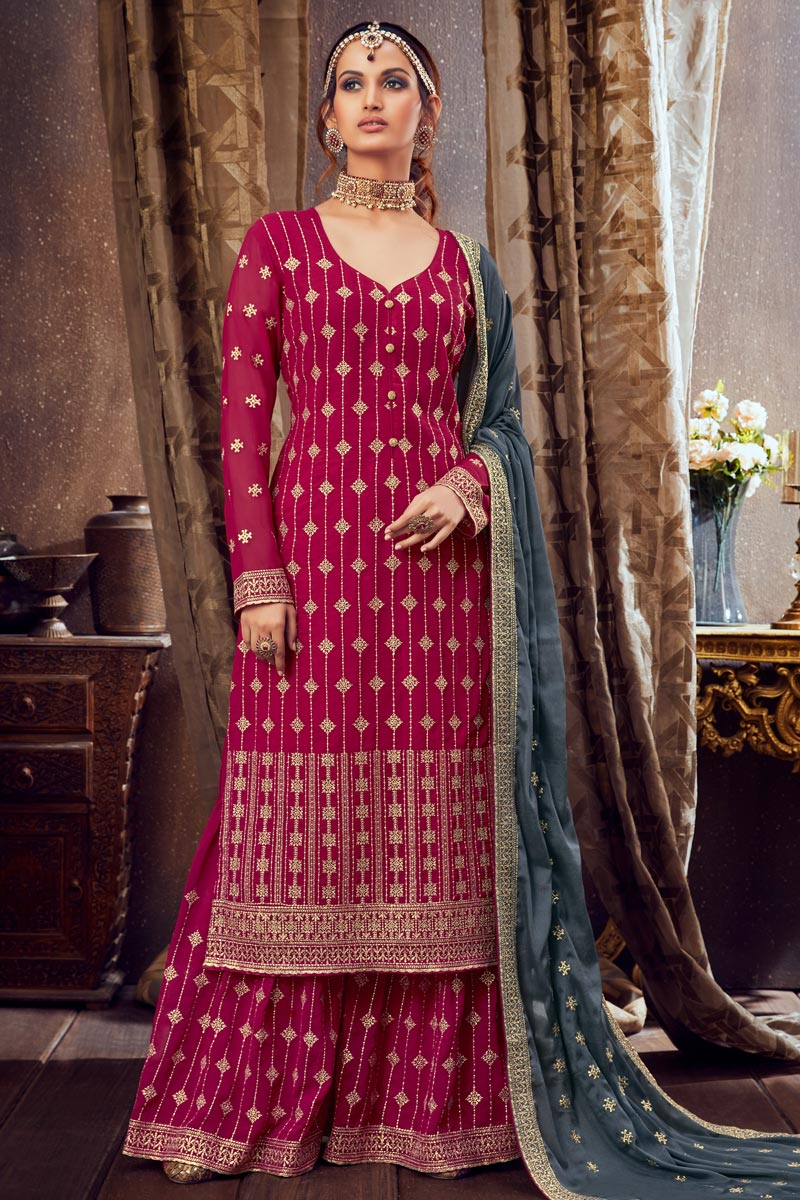 Georgette Fabric Party Wear Palazzo Salwar Suit In Dark Pink Color With Embroidery Work