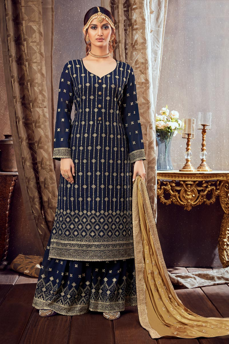 Navy Blue Color Georgette Fabric Function Wear Embroidered Palazzo Suit
