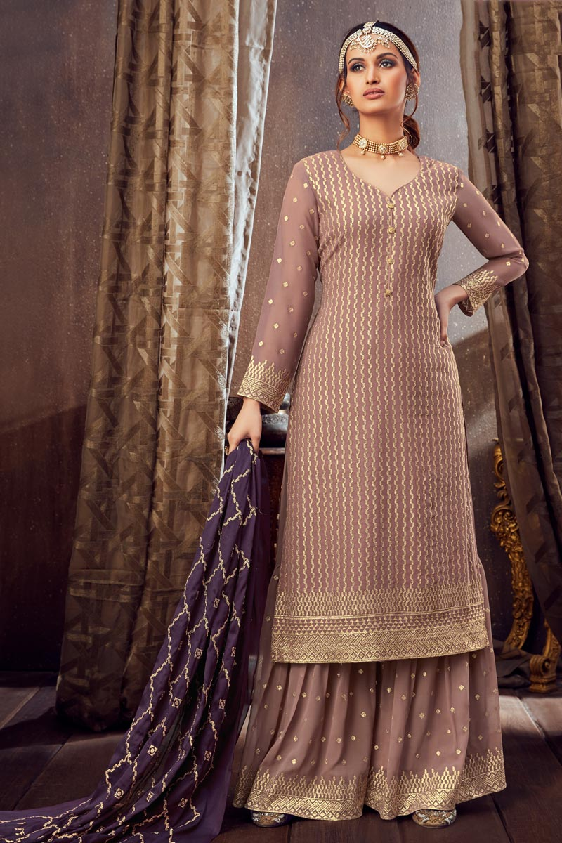 Occasion Wear Chikoo Color Embroidered Palazzo Salwar Kameez In Georgette Fabric