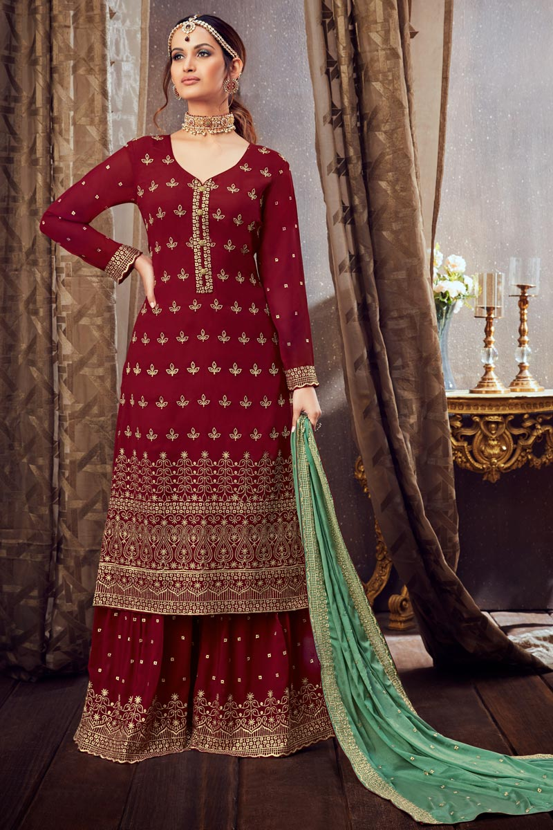 Embroidery Work Maroon Color Georgette Fabric Palazzo Salwar Suit