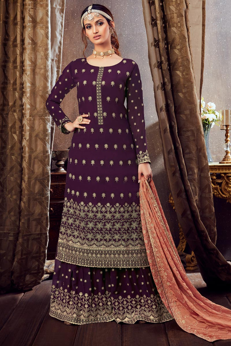 Georgette Fabric Purple Color Palazzo Suit With Embroidery Work