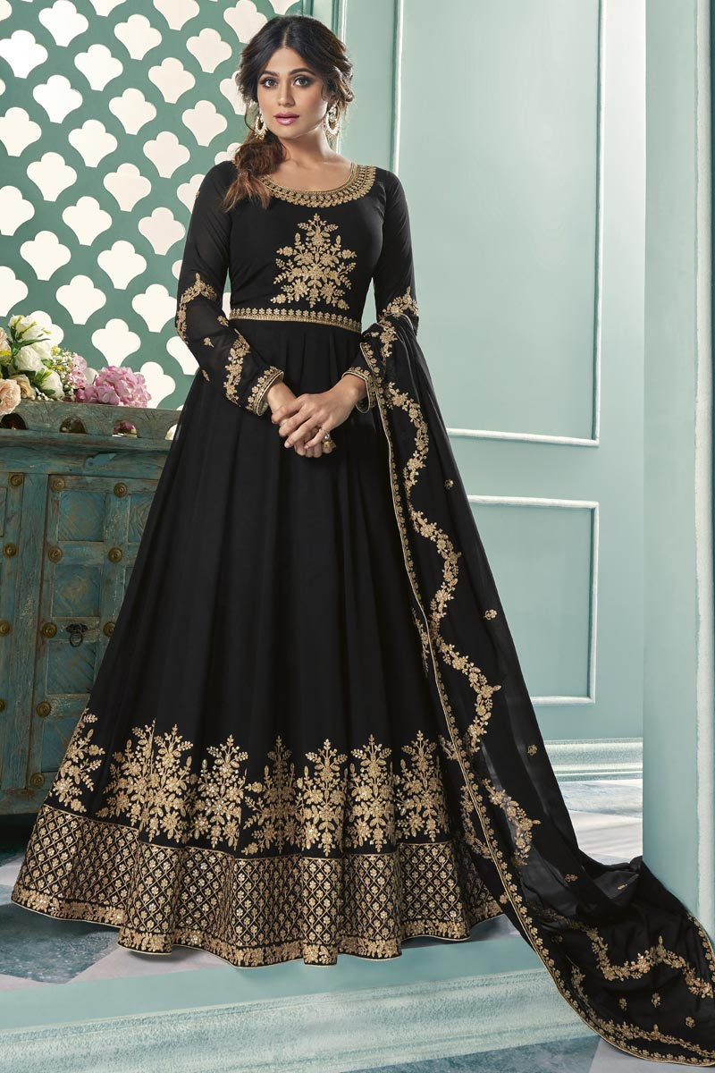 Shamita Shetty Party Wear Black Color Long Length Georgette Embroidered Anarkali Suit